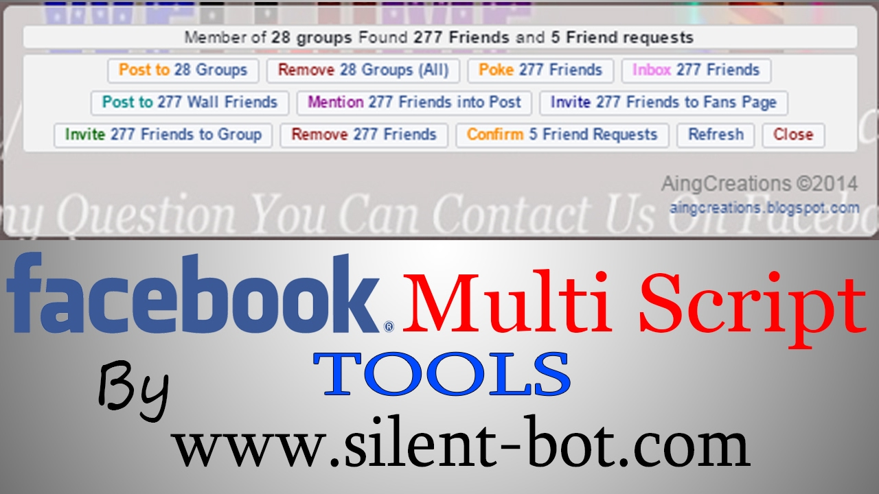 Facebook Multi Script Friends Tool Group Tool Auto Poke Mention All