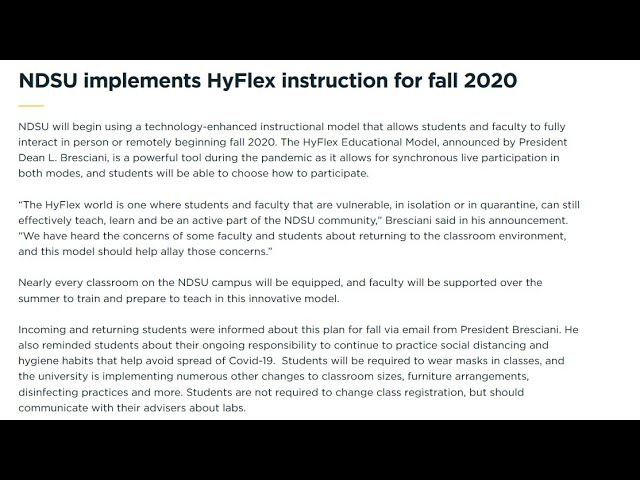 NDSU Is Offering Hyflex Education