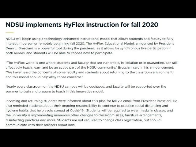 NDSU Is Offering Hyflex Education