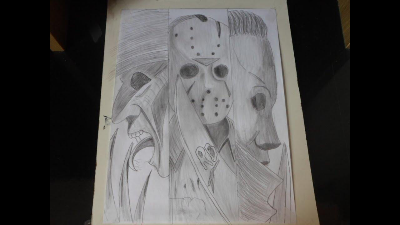 Desenhando Freddy Jason Michael Week Of Halloween Youtube