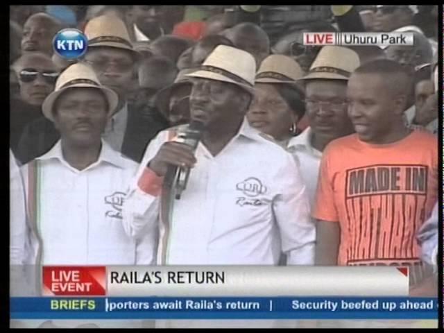 RAILA HOMECOMING; Raila Odingas Full Speech