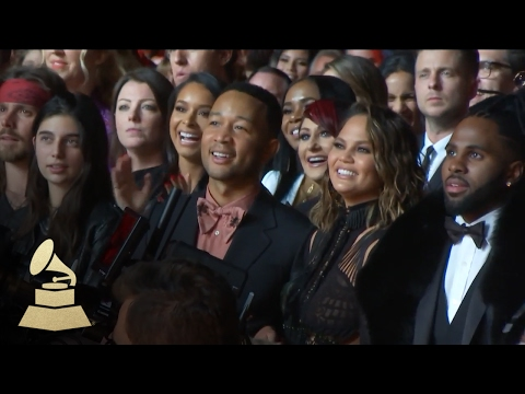 Chrissy Teigen Reacts to Bruno Mars Performance | Audience Cam | 59th GRAMMYs