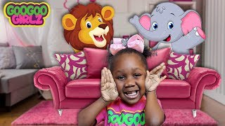 Goo Goo Gaby Plays Hide & Seek with Animals! (Learn To count to 5 and Animal Names)