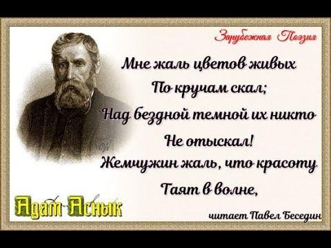 Мне жаль цветов живых Адам Аснык   читает Павел Беседин