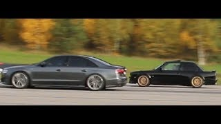 [4k] Audi S8 Plus 605 HP vs BMW 325i E30 with E34 540i engine with turbo 700+ HP. SLAUGHTER? 😱