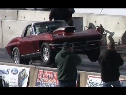 Old School Corvette drag race 10 01 @ 134 mph, Corvette Wheelie, New  England Dragway 10/21/12