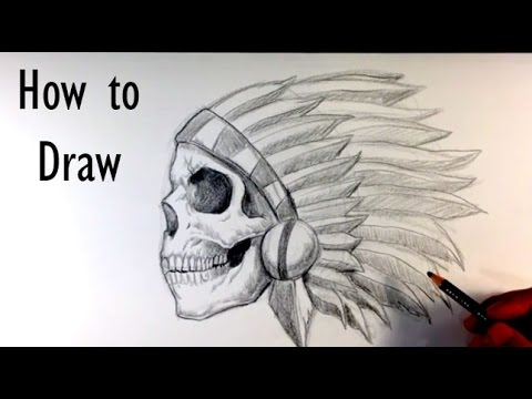 7631e350de89c How to Draw a Skull Chief Tattoo - Skull Drawings - YouTube