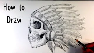 How to Draw a Skull Chief Tattoo - Skull Drawings