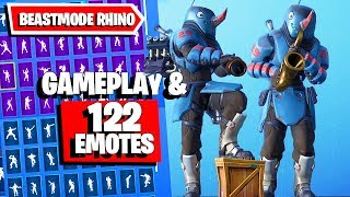 Fortnite RHINO BEASTMODE Skin Gameplay and combos with 122 Dances Emotes