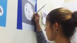 Последние штрихи - нанесение логотипа на стену офиса(флэт роспись для стены офиса дизайн студии Зефирлаб., 2016-02-20T08:34:48.000Z)
