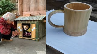 Handcraft 13 beautiful Dog house, Cup... any useful item use wood and bamboo