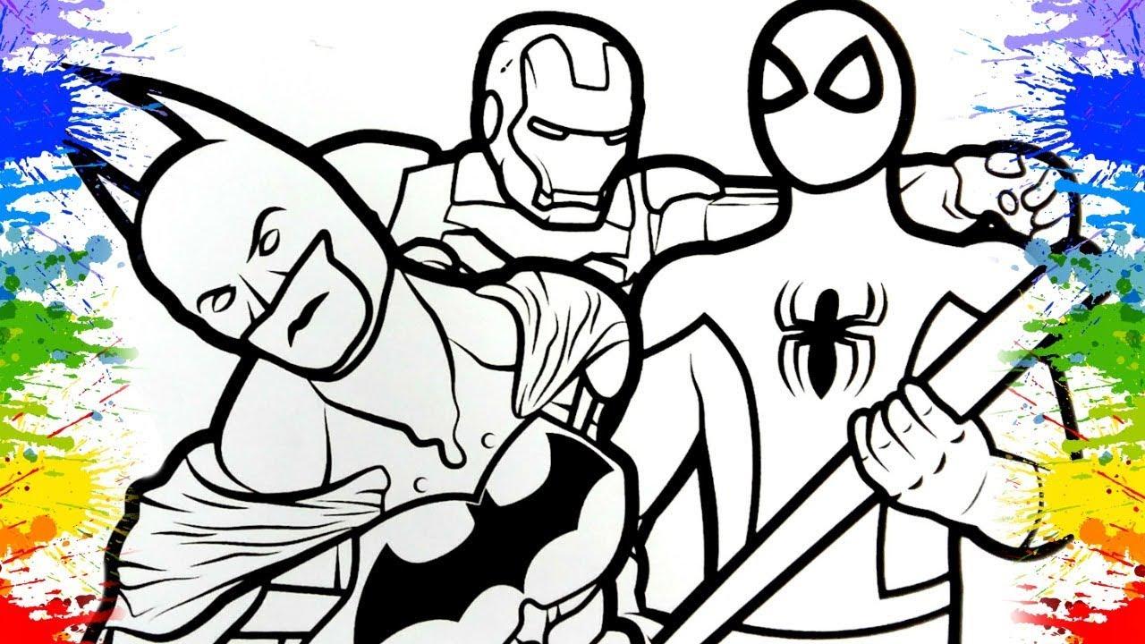 Colorindo Desenho Do Homem Aranha Batman Iron Man Infantil Marvel