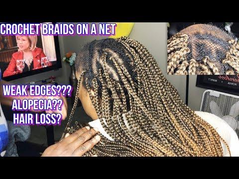 HOW TO - CROCHET BOX BRAIDS ON A NET WITH SHORT HAIR & WEAK EDGES