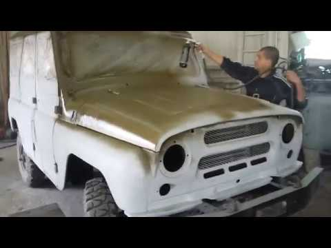 Окраска кузова автомобиля УАЗ 469 Раптором в цвет Хаки