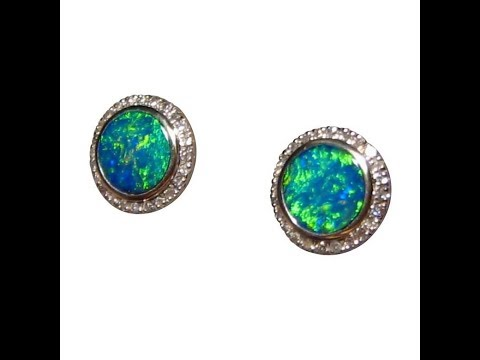 9217aad93 Round Opal Stud Earrings with Diamonds Green Gems 14k White Gold | FlashOpal