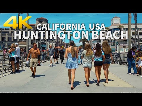 HUNTINGTON BEACH - Walking Huntington Beach, Orange County, Los Angeles, California, USA - 4K UHD