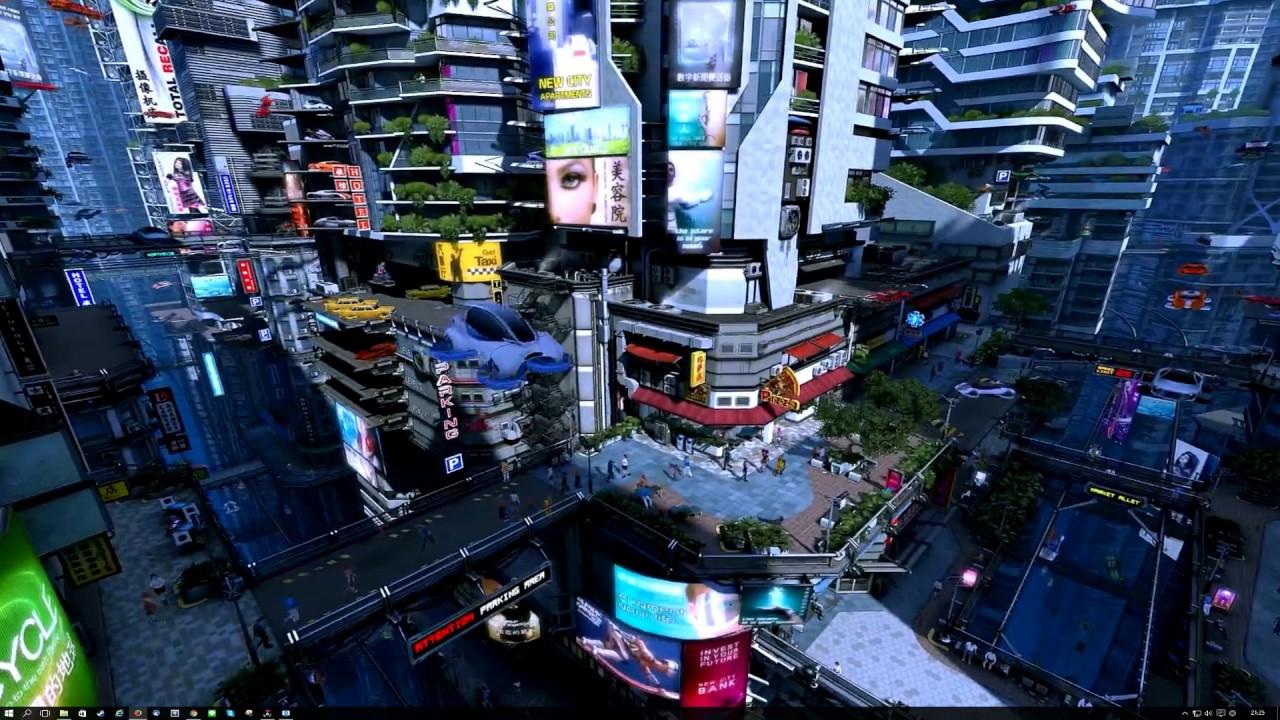 wallpaper engine 近未来シティ - YouTube