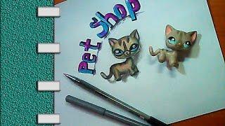 Как рисовать с натуры -  Рисуем котенка Пет Шоп в 3 d- Pet Shop(Как нарисовать c натуры - Рисуем игрушку - котенка Pet Shop в 3 D. Уроки рисования для детей. Учимся рисовать 3 D..., 2016-11-10T05:30:00.000Z)