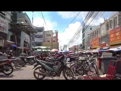 Vinh Long market and food shop Vietnam