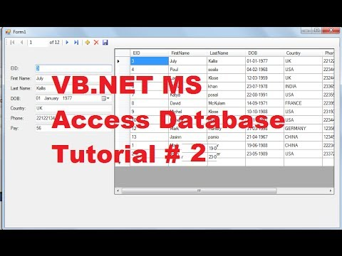 Vb. Net ms access database tutorial 2 # add new,remove,save data.
