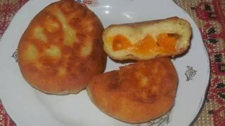 Рецепт пирожков из творожного теста с начинкой из абрикос - жареные на сковороде