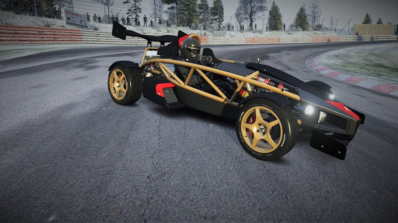 Ariel atom v8 skiing around nurburgring nordschleife in the winter snow assetto corsa vr