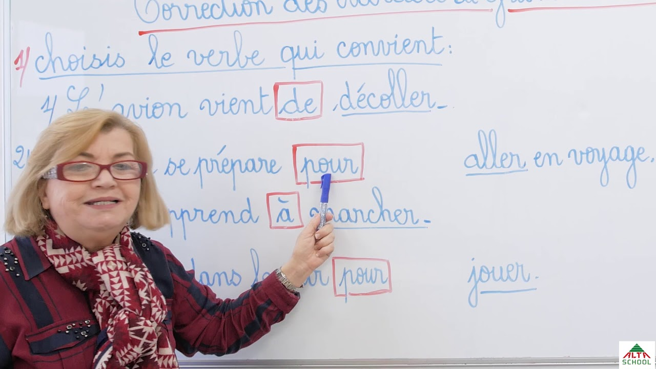 cours de français - 5ème année primaire - correction des exercices de grammaire et conjugaison ...
