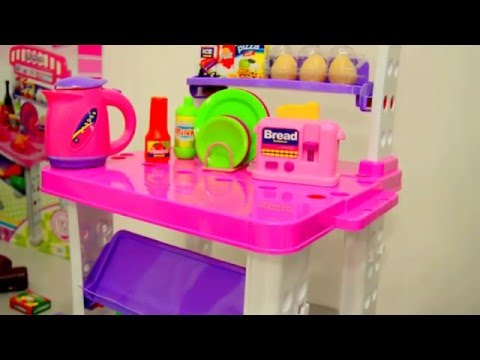 Toy Kitchen fruit vegetables cooking soup baking bread cookies toy food asmr - HD-