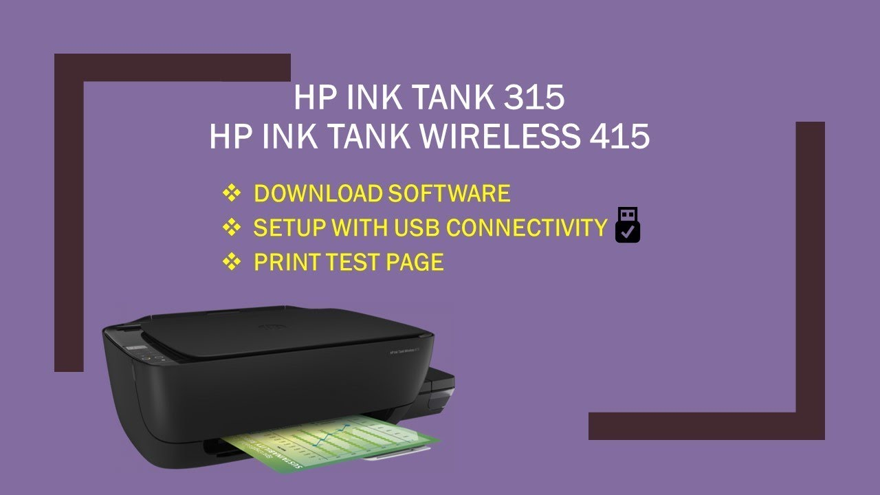 Hp Ink Tank Wireless 415 419 418 310 315 318 Download Install Software Connect Usb Part 1 Youtube