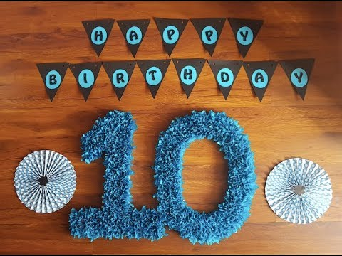 DIY Number Ten using Tissue Paper - 10th Birthday Paper Craft Decoration