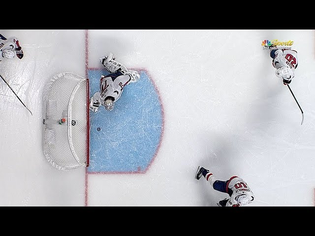 Braden Holtby swings around for great pad save at the goal line