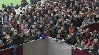 West Ham fans Invade pitch and confront players and scare away board
