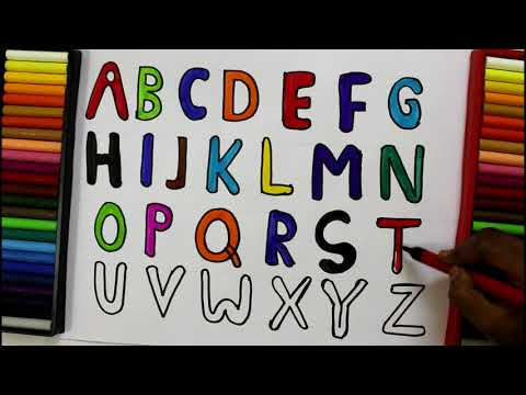 Alphabets Coloring and Drawing, Learn Alphabet ABC and Numbers 123 Colors