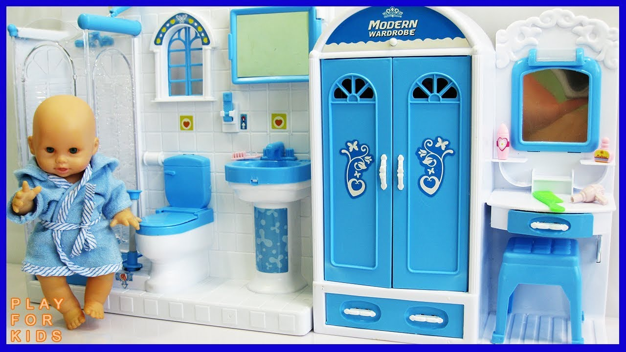 Baby Doll Bathroom 🛀 Play Doll morning routine, baby doll Shower ...