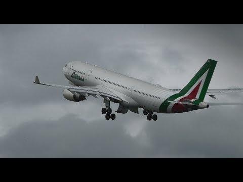[HD] CHAMPIONS LEAGUE CHARTER: Alitalia Airbus A330-203 I-EJGA - Cardiff Airport (CWL-EGFF) with ATC