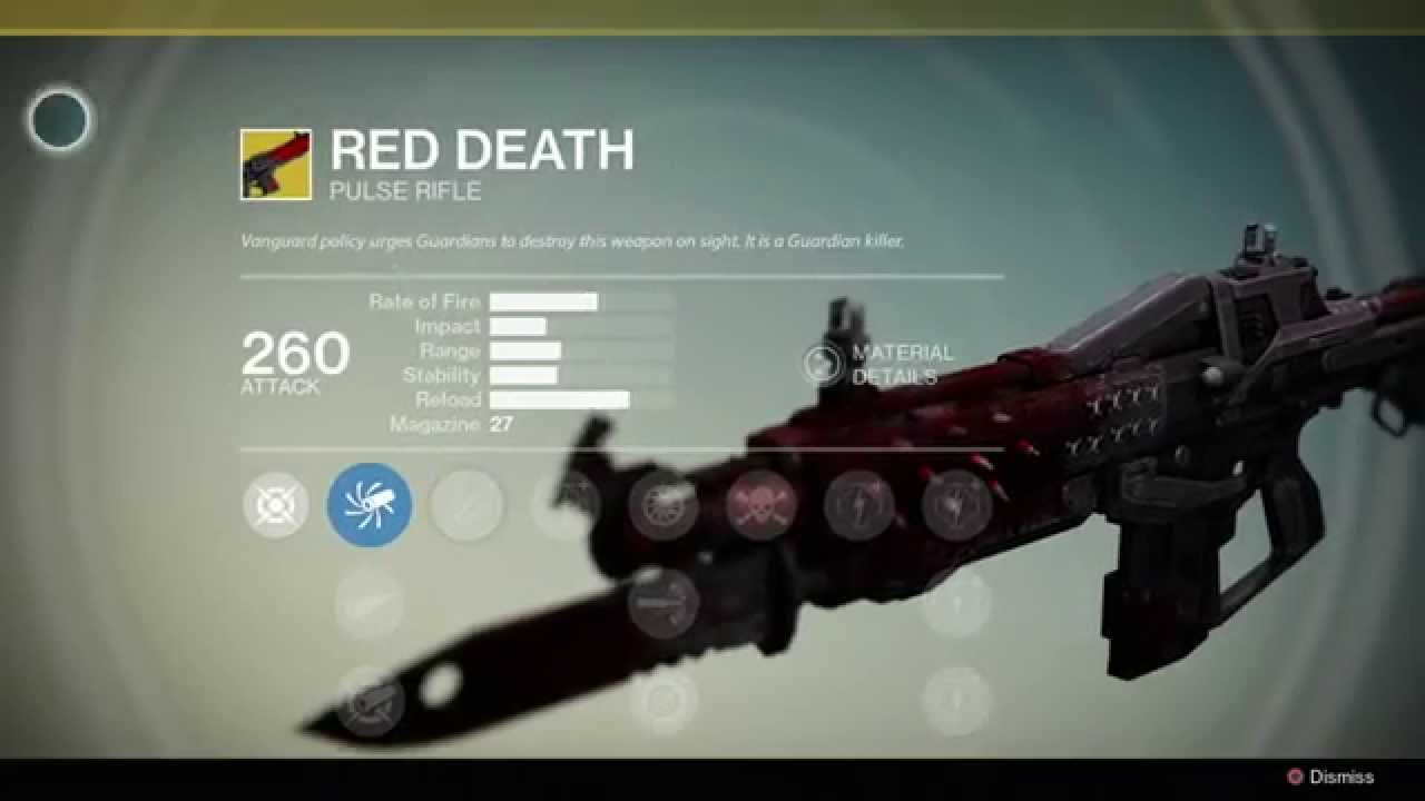Destiny exotic weapon red death pulse rifle youtube