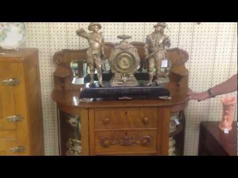 Quarter-sawn Oak Antique Bow Glass Sideboard