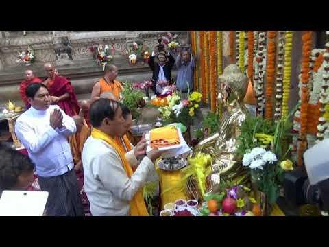 Myanmar's Win Myint Offers Prayers At Buddhist Shrine In India