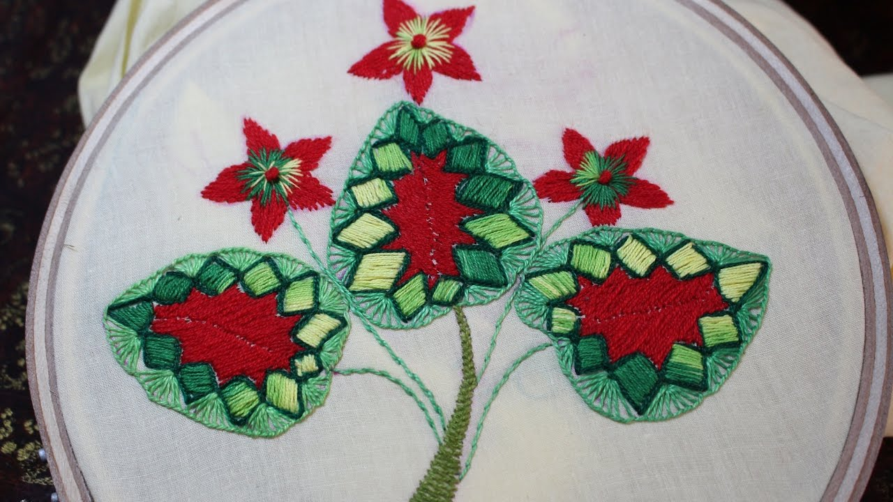 Hand embroidery designs leaf tutorial beginners stitch