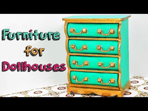 DIY CRAFTS - FURNITURE FOR DOLLHOUSE HOMEMADE - CHEST OF DRAWERS MINIATURE