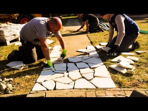 building a stone patio in one day natural stone diy patio project