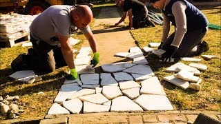 Building a STONE Patio in One Day / Natural Stone / DIY Patio Project