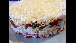 Легкий салат с крабовыми палочками. Быстрый вариант  вкусного салата