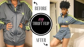 Look what I made!| ADIDAS CROP JACKET & SKIRT THRIFT FLIP | Diy Clothing Transformation