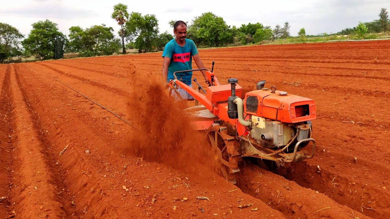 VST Shakti power tiller special rotary attachment   Ridge farming process   Agriculture India