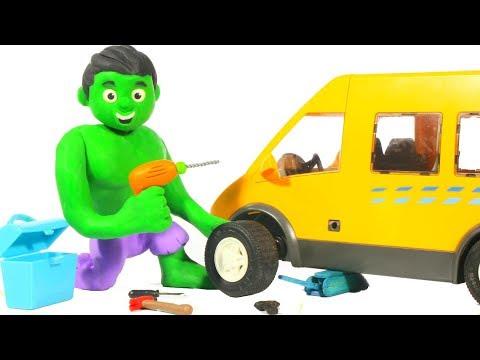 HULK FIXES THE SCHOOL BUS ❤ Spiderman, Hulk & Frozen Play Doh Cartoons For Kids - 동영상