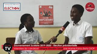 ISJA - DKR - Gouvernement scolaire 2019-2020 - Interview Sérigne Khadim Sarr