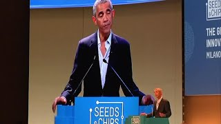 Former U.S. president Barack Obama delivered a keynote speech on food security and the environment, two issues that he has long worked on. The visit was his first public foreign foray since leaving the presidency.