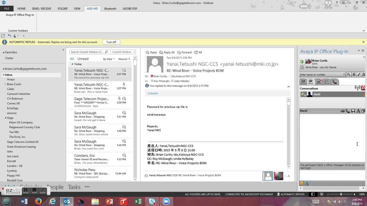 Avaya Onx-X Portal Plugin for Outlook