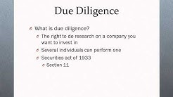 Private Placement, Due Diligence, & Term Sheet